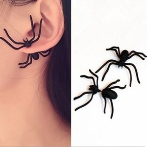 Black Front & Back Spider Earrings